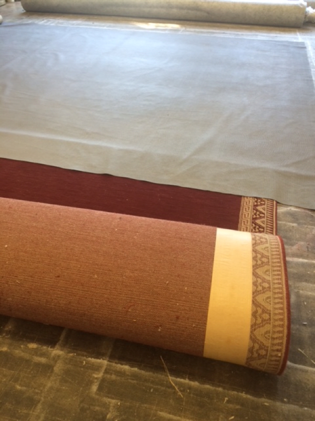 Rug Being Prepared For Rubber Backing